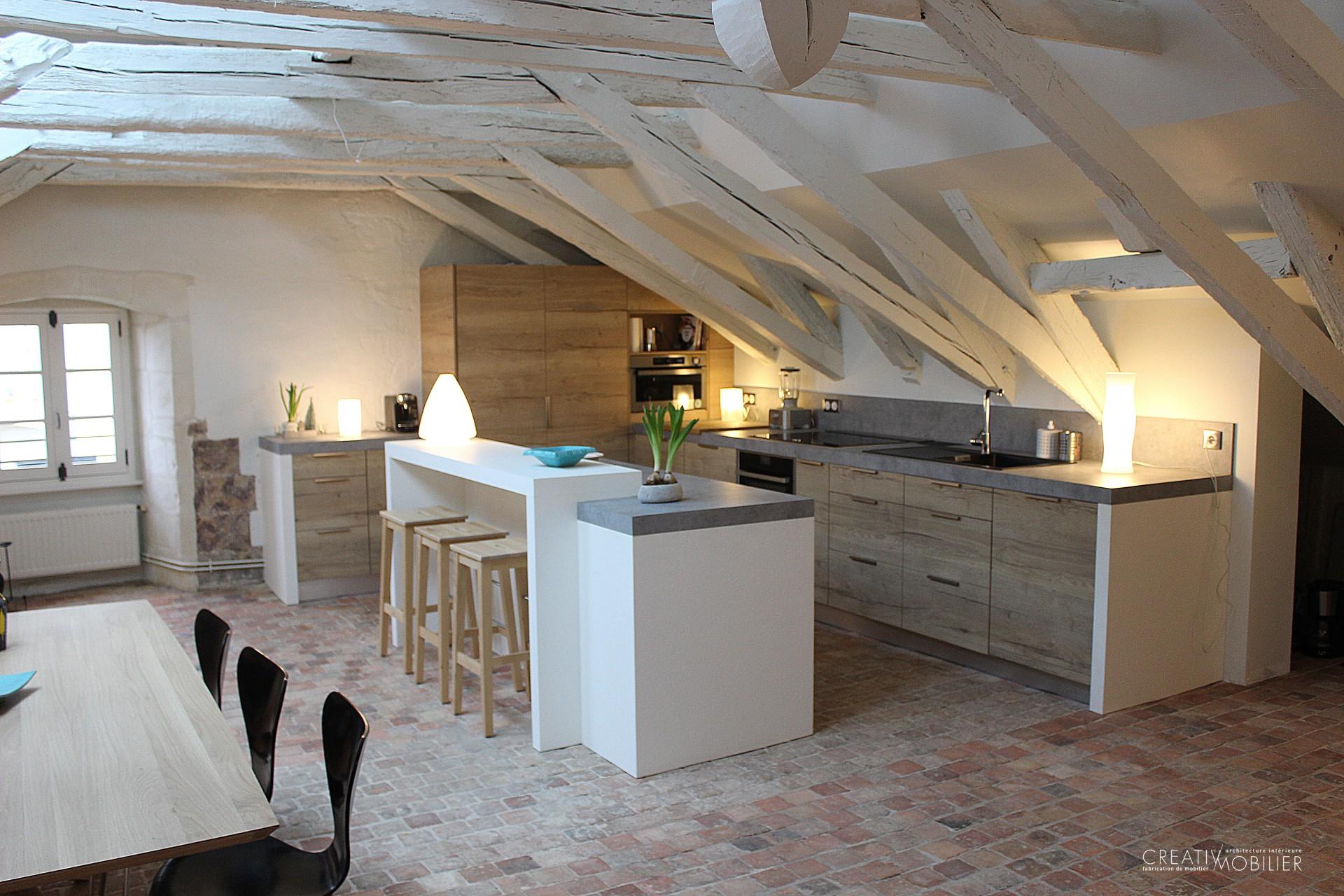 cuisine sur mesure aux tons bois angers creativ mobilier. Black Bedroom Furniture Sets. Home Design Ideas