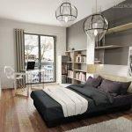 3D aménagement d'une chambre sur-mesure tête de lit et bibliothèque